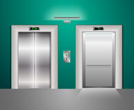 Open and Closed Modern Metal Elevator Doors. Hall Interior in green blue Colors. Open and Closed Modern Metal Elevator Doors. Hall Interior in green and blue Royalty Free Stock Image