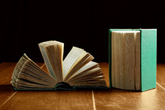 Open and closed old books Stock Photos
