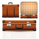Open and closed old retro vintage suitcase Royalty Free Stock Photo