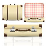 Open and closed old retro vintage suitcase Stock Images