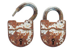 Open and closed an old rusty lock. Open and closed old lock Royalty Free Stock Image