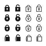 Open and closed padlock  icons Stock Images