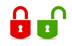 Open and closed padlock Stock Photos