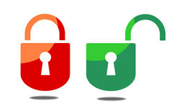 Open and closed padlock Royalty Free Stock Photo