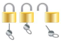 Open and closed padlocks Stock Images