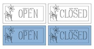 Open and closed plate. Minimalistic style_linear illustration stock illustration