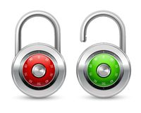 Open and closed realistic lock icon. Open green and closed red realistic steel security lock icon with shackle protected by password combination isolated vector Royalty Free Stock Photography