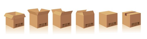 Open and closed recycle brown carton delivery packaging box with fragile signs. Collection  illustration  box with s Royalty Free Stock Photos