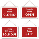 Open Closed Sale Sold Out Hanging Signs Stock Photo