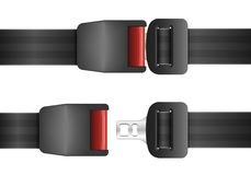 Open and closed seatbelt Stock Photo