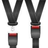 Open and closed seatbelt. Detailed illustration of an open and closed seat belt Royalty Free Stock Photo