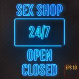 Open, Closed, Sex Shop, 24/7 Hours Neon Light on transparent bac. Kground. 24 Hours Night Club / Bar / Sex Shop Neon Sign . Vector Illustration Royalty Free Stock Photo