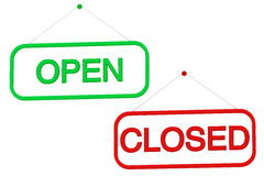 Open and Closed shop sign. On a white background Stock Photos