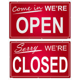 Open and Closed Sign. Image of open and closed business signs Royalty Free Stock Photo