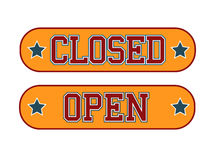Open Closed. Sign Athletic Style Royalty Free Stock Image
