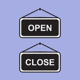 Open and Closed sign board hanging. Vector icon Royalty Free Stock Image