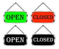 Open and closed sign board, vector isolated set. Royalty Free Stock Images