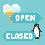 Open closed sign for ice cream cafes Stock Images