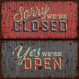 Open and Closed Sign - information retail store Royalty Free Stock Image