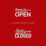 Open and Closed Sign - information retail store Stock Image