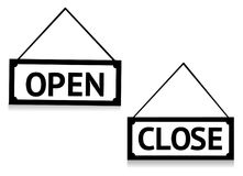 Open and closed sign Stock Images