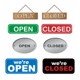 Open and closed signs. Set of eight different open and closed signs isolated on white background.EPS file available Stock Illustration