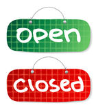 Open and Closed Signs. Vector Open and Closed Signs, burberry style Royalty Free Stock Photo
