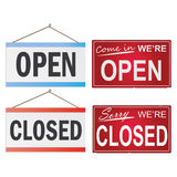 Open and Closed Signs. Image of various open and closed business signs isolated on a white background Stock Images