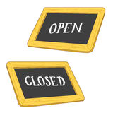 Open & Closed Signs. Illustration of open & closed signs - white chalk handwriting on blackboards vector Stock Image