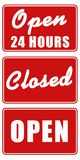 Open and Closed Signs. Set of three signs: Open 24 hours, Open, and Closed Stock Photo