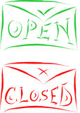 Open closed signs. Green and red Stock Image