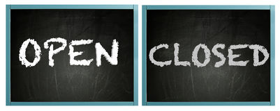 Open and Closed signs on framed blackboard Stock Images
