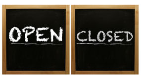 Open and Closed signs on framed blackboard Stock Image