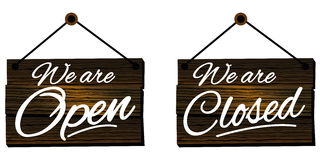 Open and Closed signs. Restaurant Retro Styled Royalty Free Stock Photos