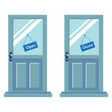 Open and closed signs on two doors. Abstract colorful background with two blue doors having different signs for open and closed Stock Photos