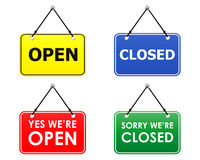 Open and closed signs (vector). Four plates with open and closed signs Stock Photography