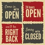 Open and closed signs Royalty Free Stock Images