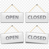 Open closed signs  on white vector Stock Photos
