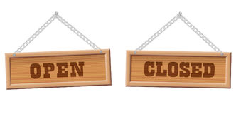 Open Closed Store Sign Wooden Boards Stock Photos