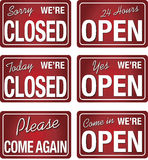 Open closed store signs in red color Stock Photo