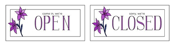 Open and closed vector plate. Minimalistic style. Violet colors royalty free illustration