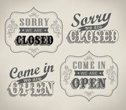 Open and Closed Vintage retro signs Stock Photography