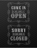 Open and Closed Vintage retro signs Royalty Free Stock Photos