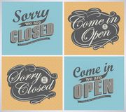 Open and Closed Vintage retro signs stock illustration