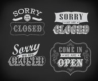 Open and Closed Vintage retro signs Stock Photo