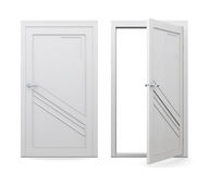 Open and closed white door  on white background. 3d rend Royalty Free Stock Images
