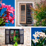 Open and closed window. Collage from croatian windows and oleander flower Royalty Free Stock Photo