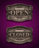 Open and Closed wooden vintage signs. Open and Closed wooden ornate vintage signs Stock Photography