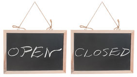 Open and closed words on blackboard Stock Photography