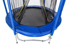 Open closeup trampoline for children and adults for fun indoor or outdoor fitness jumping on white background stock photos